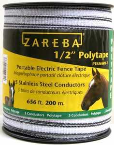 Zareba PT656WH-Z Polytape 1/2 in 200 Mtr
