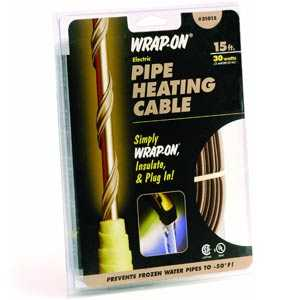 Wrap-On Company 31015 Pipe Heating Cable With Thermostat 15 ft