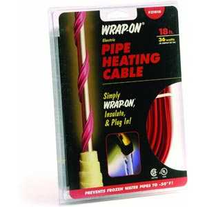 Wrap-On Company 31018 Pipe Heating Cable With Thermostat 18 ft