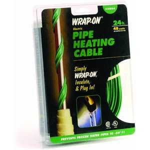 Wrap-On Company 31024 Pipe Heating Cable With Thermostat 24 ft