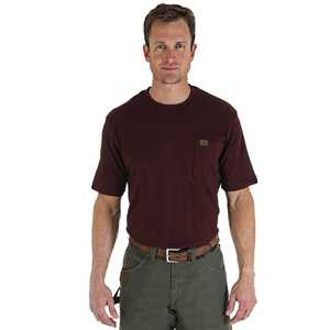 Wrangler 3W700BG Large Burgundy Riggs Workwear Short Sleeve Pocket T-Shirt