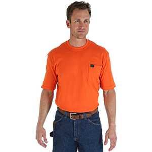 Wrangler 3W700SO 2X-Large Safety Orange Riggs Workwear Short Sleeve Pocket T-Shirt