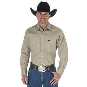 Wrangler MS70319 X-Large Tall Khaki Cowboy Cut Firm Finish Long Sleeve Western Snap Solid Work Shirt