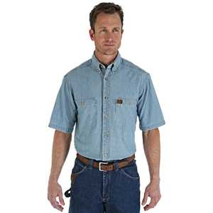 Wrangler 3W531BL 3X-Large Tall Light Blue Chambray Riggs Workwear Short Sleeve Shirt