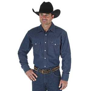 Wrangler MS70119 Medium Blue Twill Long Sleeve Western Work Shirt