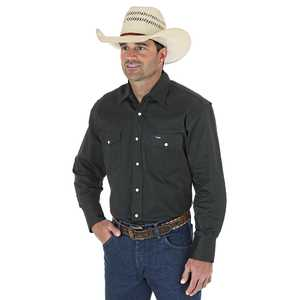 Wrangler MS70519 2X-Large Black Forest Green Cowboy Cut Firm Finish Long Sleeve Western Snap Solid Work Shirt