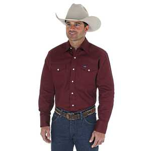 Wrangler MS70719 Large Cowboy Cut Firm Finish Long Sleeve Western Snap Solid Work Shirt