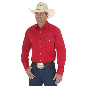 Wrangler MS70619 Large Tall Red Cowboy Cut Firm Finish Long Sleeve Western Snap Solid Work Shirt