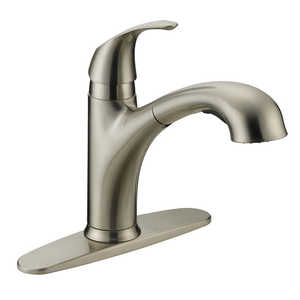 Flo Control Faucets FP4A4056NP 1-Handle Stainless Steel Kitchen Faucet With Pullout