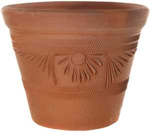 New England Pottery 15512 Tapered Rolled Rim Rustic Terra Cotta 13.5 in