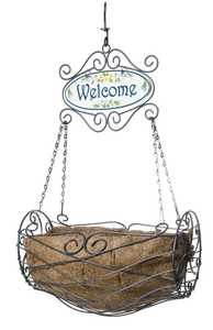 Panacea 88580 Welcome Basket With Liner Antique Iron 6 in x11 in