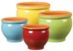 New England Pottery 100019028 5-3/4-Inch Glazed Terra Cotta Pedestal Bowl