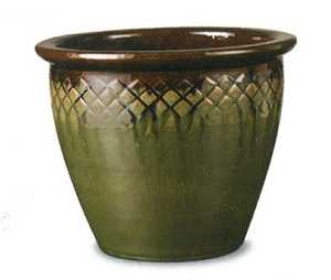 New England Pottery 100507776 11-3/4-Inch Brown Wasabi Diamonds Patio Pot