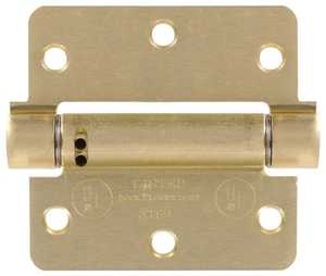 Hillman 852548 3-1/2 in - 1/4 in Round Corner Satin Brass Spring Hinges - Adjustable