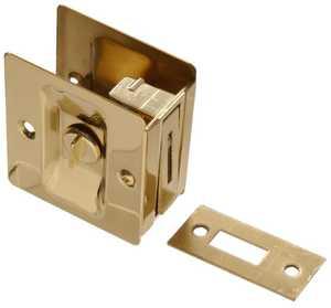 Hillman 852730 Solid Brass/Bright Brass Pocket Door Latche