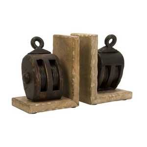 Imax Corp 73015 Mason Wood Pulley Bookends