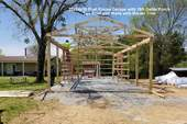 20x24x10 Post Frame Garage with 16ft Gable Porch