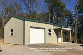 24x30x10 Post Frame Garage with 1-6x10 Porch