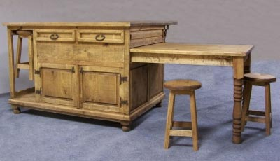 Rustic Pine Furniture 3241 Kitchen Island With Sliding Table At Sutherlands