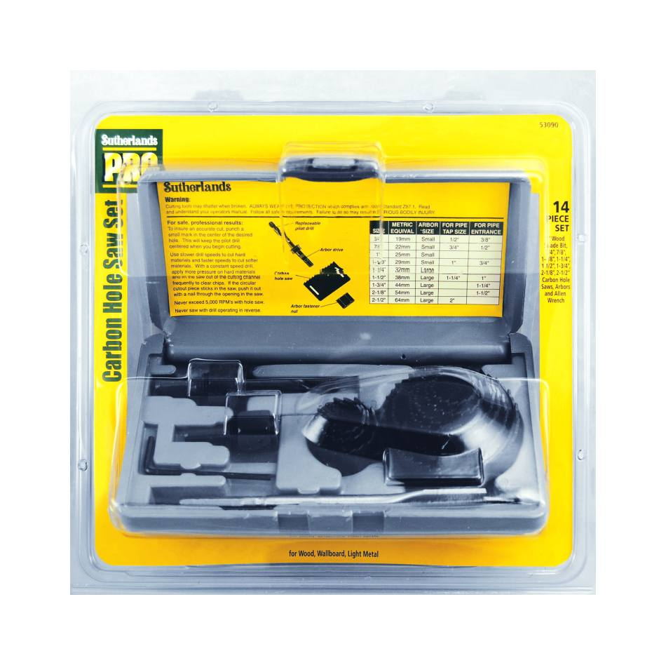 Sutherlands pro 53090 14 piece carbon hole saw set at for Sutherlands home kits