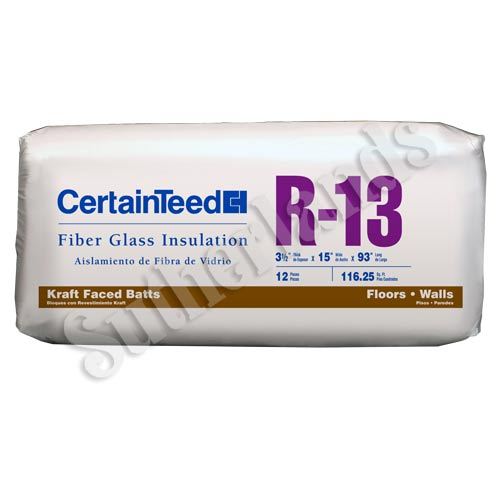 Certainteed 990245 r13 fiberglass insulation kraft faced for Batt insulation sizes