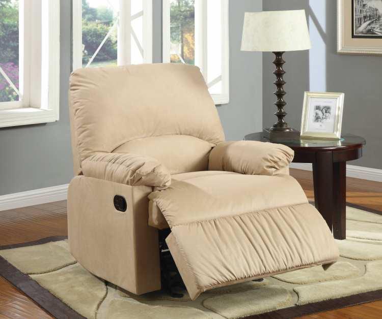 Wichita Furniture Lawton Ok: Coaster 600264G Microfiber Upholstered Light Brown Glider