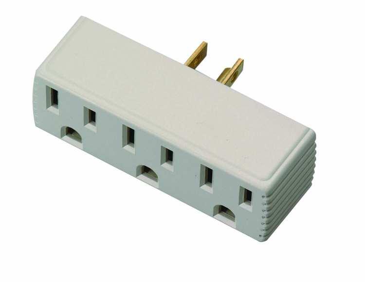 Coleman Cable 09913-88-23 3-Outlet 125-Volt Beige Outlet Adapter at ...