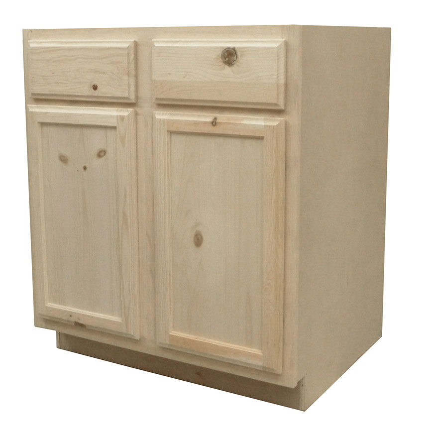 Knotty Pine Cabinets: Kapal Wood Products B30-PFP 30 In Unfinished Knotty Pine