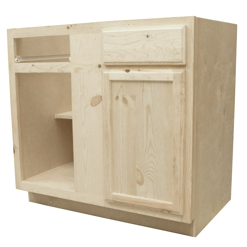 Natural Knotty Pine Kitchen Cabinets: Kapal Wood Products BB42-PFP 42 In Unfinished Knotty Pine