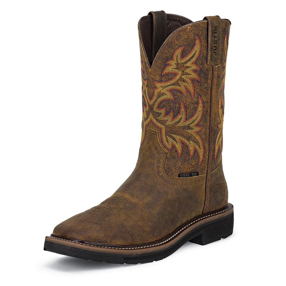 Justin Boots Wk4682 Men S Rugged Tan Cowhide Stampede