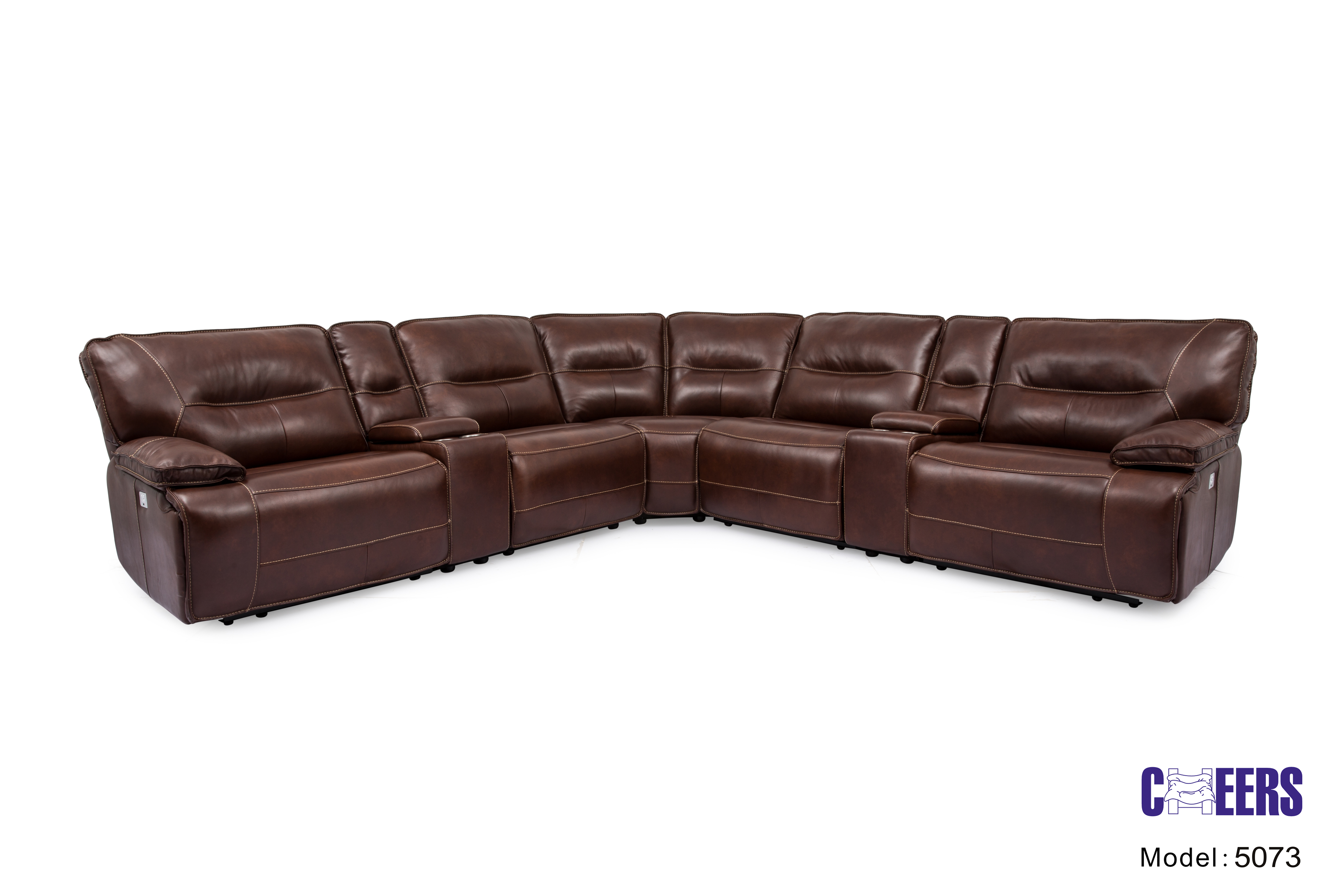 Man Wah 5073 7-Piece Brown Reclining Living Room Sectional ...