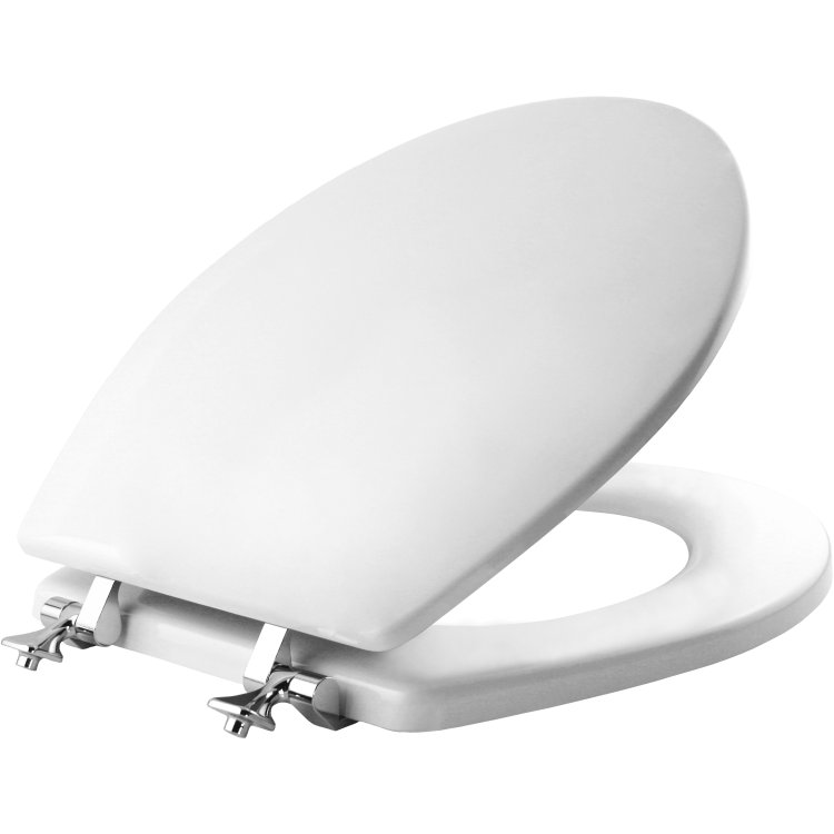 Mayfair Bemis 44CP 000 Round Molded Wood Toilet Seat With Chrome Hinge White