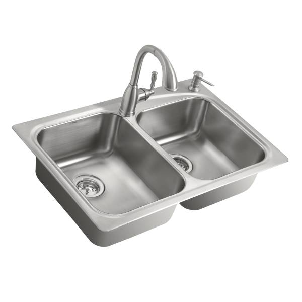 Moen 21657 Double Bowl Kitchen Sink With Pullout Faucet And Strainers