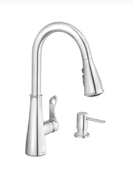 1-Handle Chrome Hadley Pulldown Kitchen Faucet With Soap Dispenser