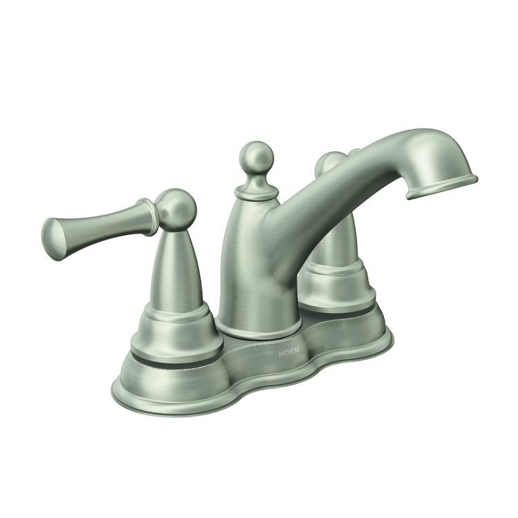 Moen 84600srn Spot Resist Brushed Nickel Two Handle Low Arc Bathroom Faucet At Sutherlands