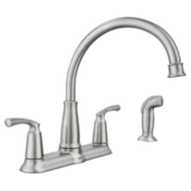 Moen 87403 Spot Resist Stainless Steel Two Handle High Arc Kitchen Faucet With Sprayer At Sutherlands