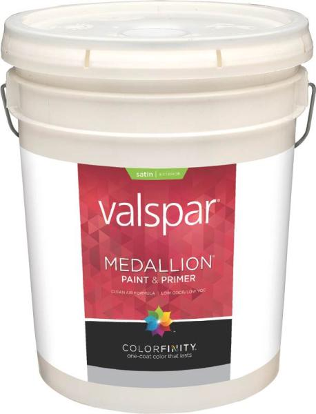 Valspar 4100 Medallion Exterior Latex Paint Satin White 5 Gal At Sutherlands