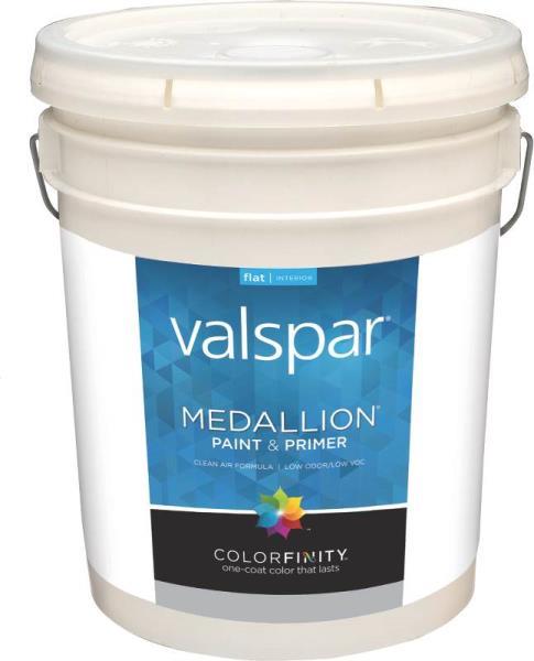 Valspar 1400 Medallion Interior Latex Paint Flat White 5 Gal At Sutherlands