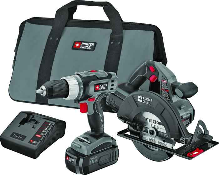 Porter Cable Pc218c 2 18v Nicad 2 Tool Combo Kit At