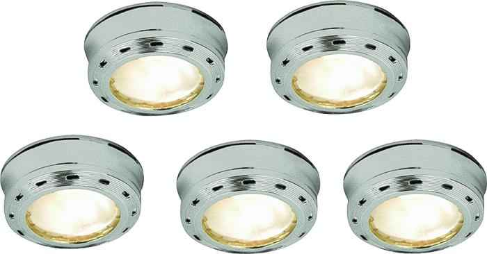 5 Light Stainless Steel Xenon Puck Kit