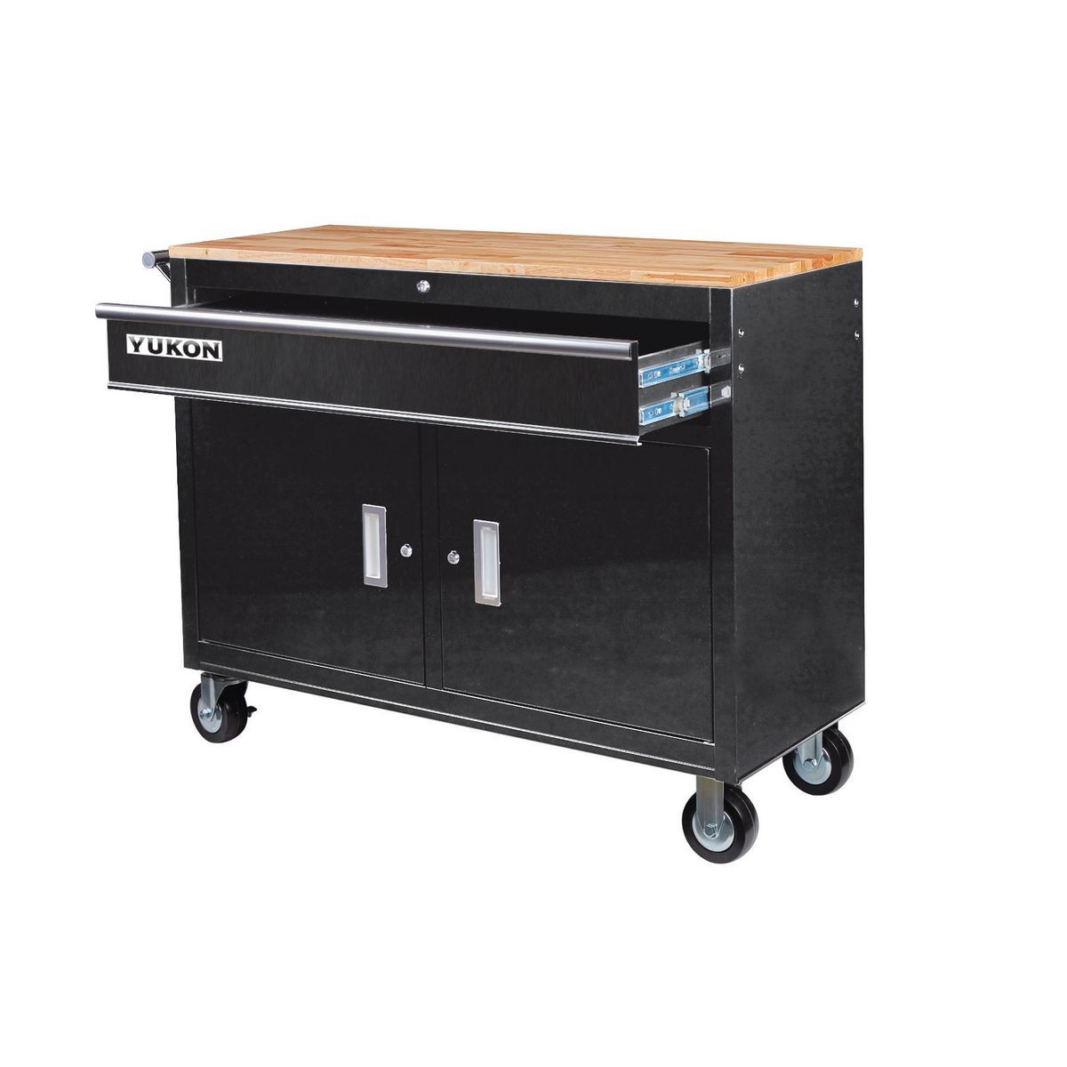 Yukon 64023 46 Inch Mobile Storage Cabinet With Wooden Top