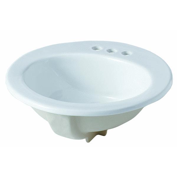 19 Inch Round White Glasgow Bathroom Sink Orion 52060020