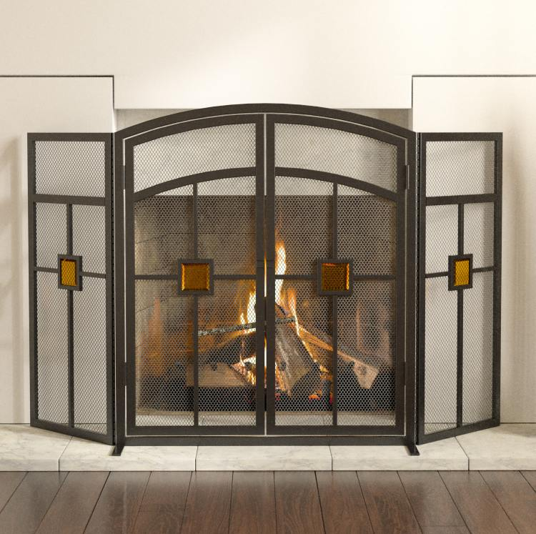 Panacea 15137 3 Panel Mission Style With Glass Insert Fireplace
