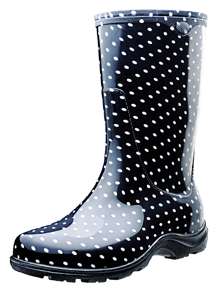 Black Rain Boots With Polka Dots