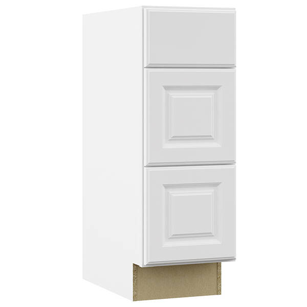 Continental Cabinets Kvdb12 Sw 12 X 21 X 34 1 2 Inch White 3 Drawer Bathroom Vanity Sink Base Cabinet And Toe Kick At Sutherlands