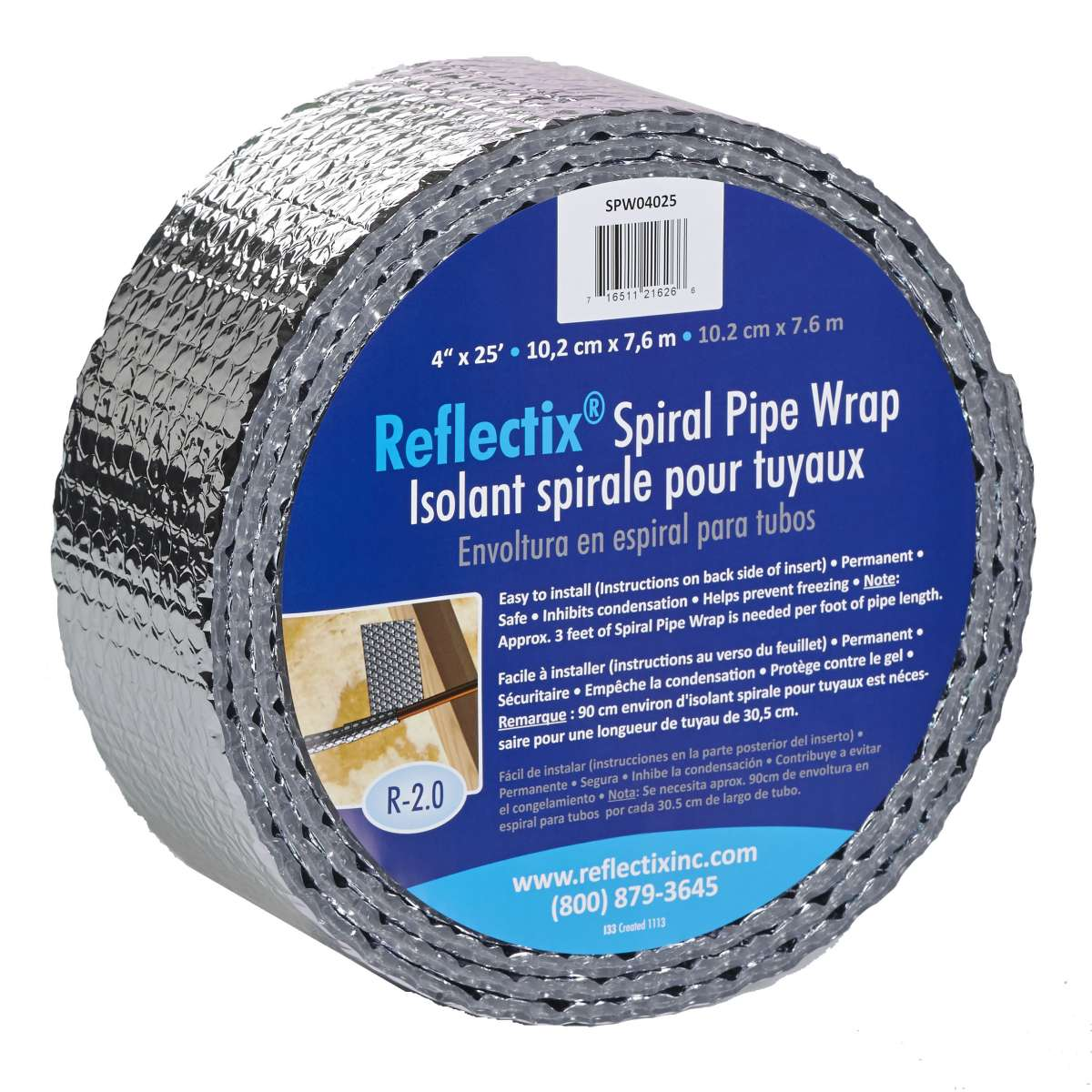 "Reflectix SPW0602508 Spiral Pipe Wrap Insulation R-2.0 6/"" x 25/'"