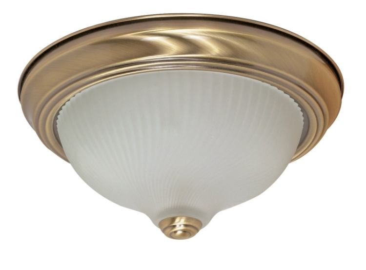 2 Light 11 Inch Antique Brass Flush Mount Ceiling Light
