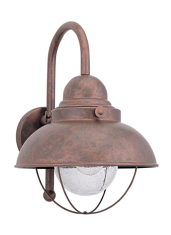 Sebring Collection 1 Light Outdoor Wall Lantern Weathered Copper Finish