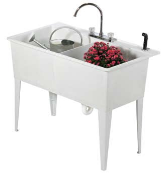 Vetta Utility Sink Laundry Tub With Cabinet In White High