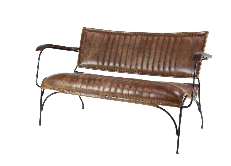 UMA Enterprises 50876 50 x 28-Inch Iron And Leather Sofa at Sutherlands
